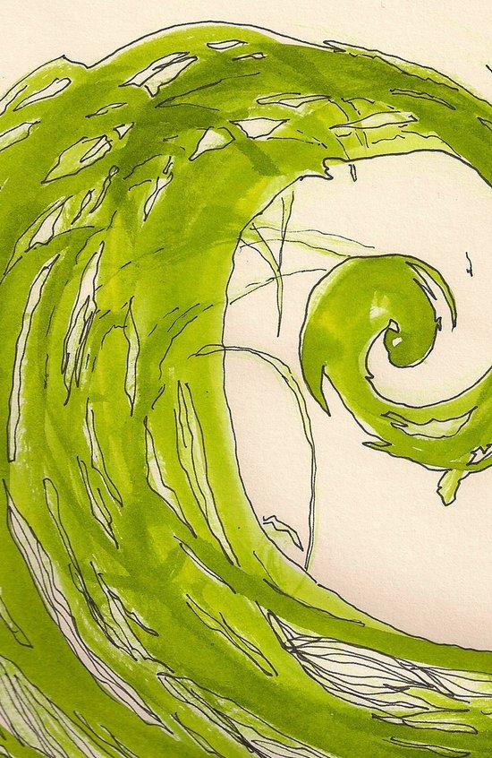 Green spiral Art Print