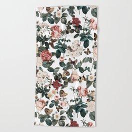 Beach Towel - Floral and Butterflies II - Burcu Korkmazyurek