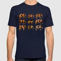 CHEETAH ELEPHANTS Mens Fitted Tee Navy SMALL