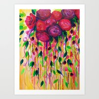 ROSES ARE RAD - Bold Fun Red Roses Floral Bouquet Vines, Flowers Abstract Acrylic Painting Fine Art Art Print