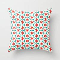 Retro Red Stars Pattern Throw Pillow