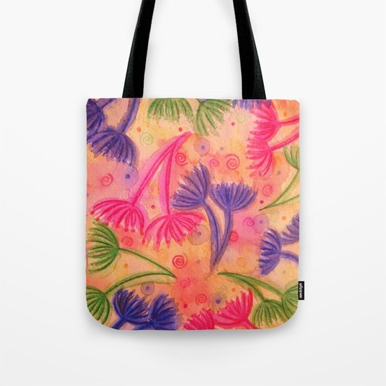 COW PARSLEY 3 - Happy Neon Pink Cherry Acid Green Nature Floral Abstract Watercolor Painting Pattern Tote Bag