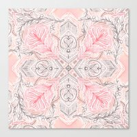 Peaches and Cream Doodle Tile Pattern Canvas Print