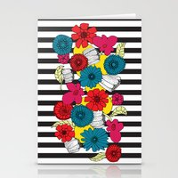 Flowers And Stripes Stationery Cards