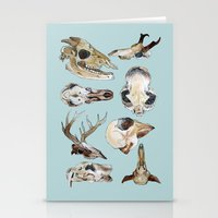skulls Stationery Cards featuring Skulls by Katelyn Patton