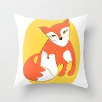 Fox Family Throw Pillow
