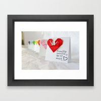 Friendship Comes from the Heart - Origami Framed Art Print