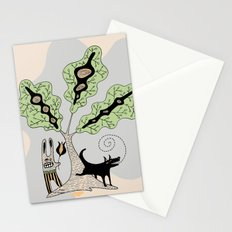 Black Dog and his Rabbit Friend Stationery Cards