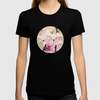 Pink Pear Blossoms 2 Womens Fitted Tee Black SMALL