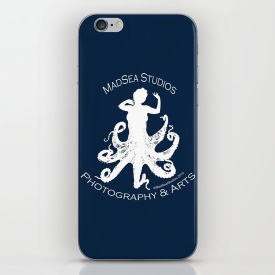 MadSea Nymph, white on blue iPhone & iPod Skin