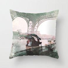 Paris Rain Throw Pillow