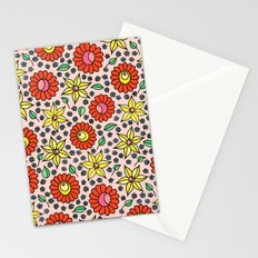 Hungarian embroidery inspired floral - red,yellow,and small flowers Stationery Cards