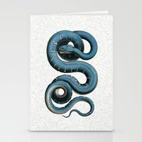 Blue White Vintage Snake Illustration Animal Art Stationery Cards
