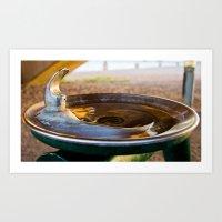 Drinking Fountain Sunset Art Print