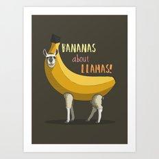 Bananas About Llamas! Art Print