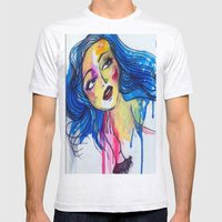 blue haired girl Mens Fitted Tee Ash Grey SMALL
