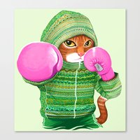 BOXING CAT 4 Canvas Print