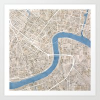 New Orleans Cobblestone Watercolor Map Art Print