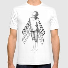 boy draws wings mk-II Mens Fitted Tee SMALL White