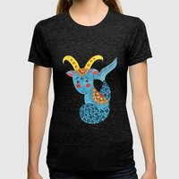 Blue Capricorn Womens Fitted Tee Tri-Black SMALL