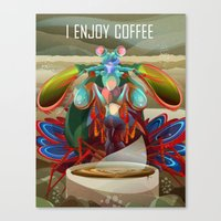 Mantis Shrimp Enjoys Coffee Canvas Print