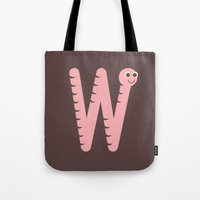 Letter W // Animal Alphabet // Worm Tote Bag