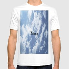 Believe SMALL White Mens Fitted Tee