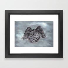 Eros , Amor - Angel and Woman in Love Framed Art Print