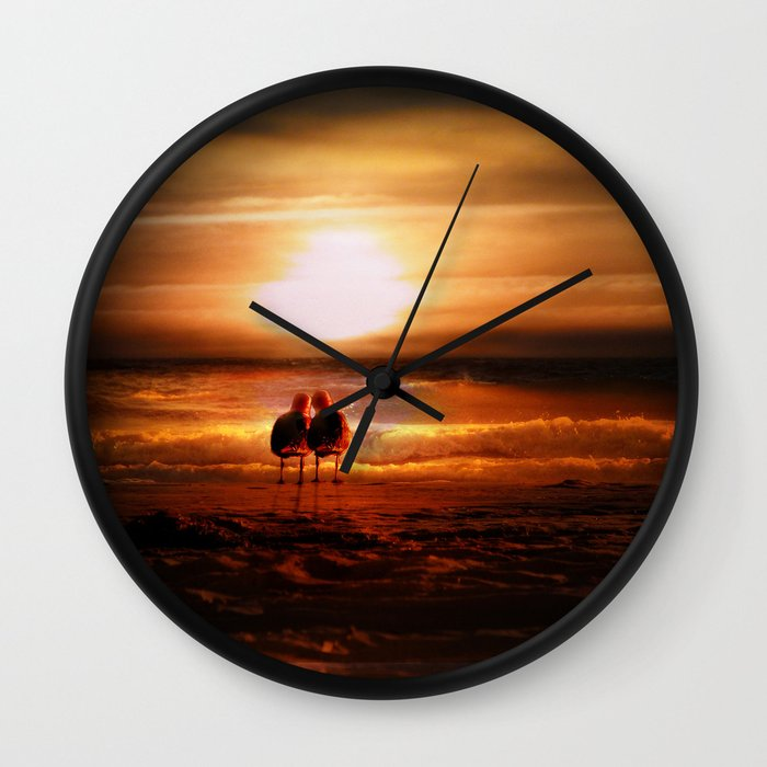 Seagulls Lovebirds At Sunset Wall Clock By Gravityx9