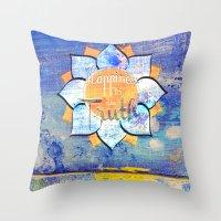 Happy Lotus Throw Pillow