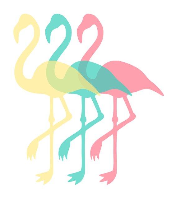 The Three Flamingos Art Print