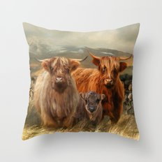 Hairy Coo's Throw Pillow