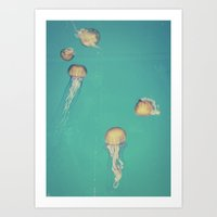 jellyfish Art Prints featuring Jellyfish by Hannah Kemp