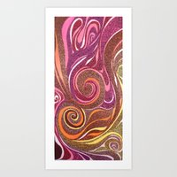 Waves in Red Art Print