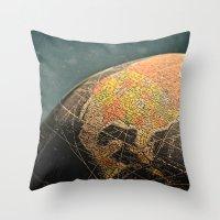Where I Am (Vintage Glob… Throw Pillow