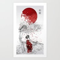 japanese Art Prints featuring Japanese Poem by Marine Loup
