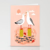 Seagulls - Bird Art, Coastal Nautical Summer Bird Print by Andrea Lauren Stationery Cards
