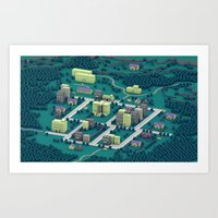 EarthBound - Town of Onett [Night] Art Print