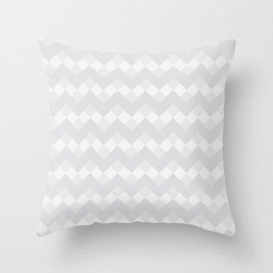 Chevron Neue Gray and White Pattern Throw Pillow