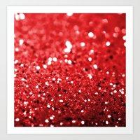 Glitter Red Art Print