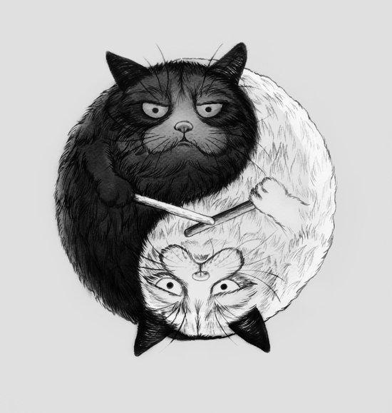 Grumpy Yin Yang Art Print