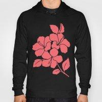 Hibiscus Flowers Animal Print Coral Ivory Hoody