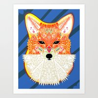 Fox In Blue Art Print
