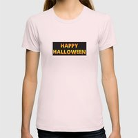 happy halloween Womens Fitted Tee Light Pink SMALL