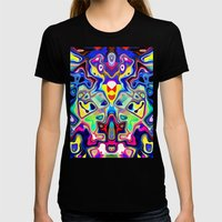 Abstract Pop Art Faces Womens Fitted Tee Black SMALL