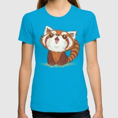 Red Panda Womens Fitted Tee Teal SMALL