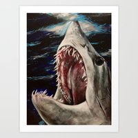 Mako Shark Of Dark Water… Art Print