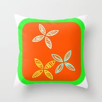 MCM Orange Green Flowers Throw Pillow