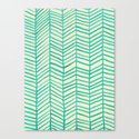 Mint Herringbone Canvas Print