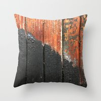Wooden Lines Throw Pillow